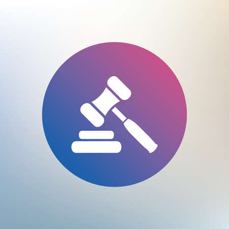 auction: Auction hammer icon. Law judge gavel symbol. Icon on blurred background. Vector