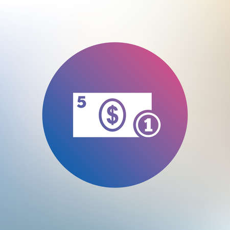 usd: Cash sign icon. Dollar Money symbol. USD Coin and paper money. Icon on blurred background. Vector Illustration