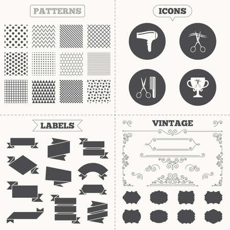 cut hair: Seamless patterns. Sale tags labels. Hairdresser icons. Scissors cut hair symbol. Comb hair with hairdryer symbol. Barbershop winner award cup. Vintage decoration. Vector
