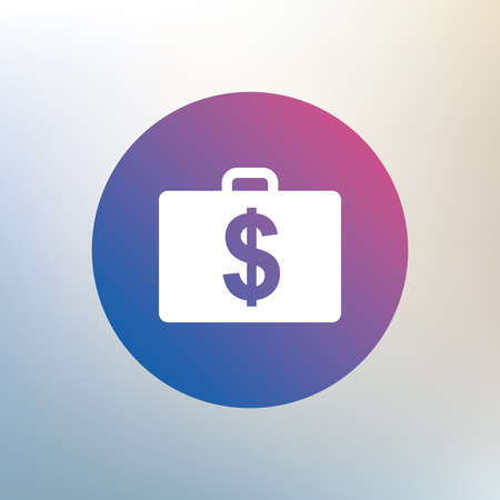usd: Case with Dollars USD sign icon. Briefcase button. Icon on blurred background. Vector