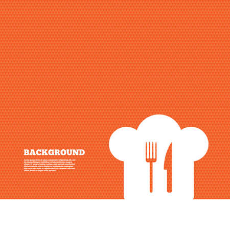 orange texture: Background with seamless pattern. Chef hat sign icon. Cooking symbol. Cooks hat with fork and knife. Triangles orange texture. Vector