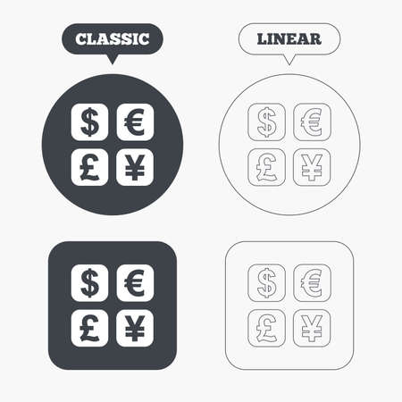 currency converter: Currency exchange sign icon. Currency converter symbol. Money label. Classic and line web buttons. Circles and squares. Vector