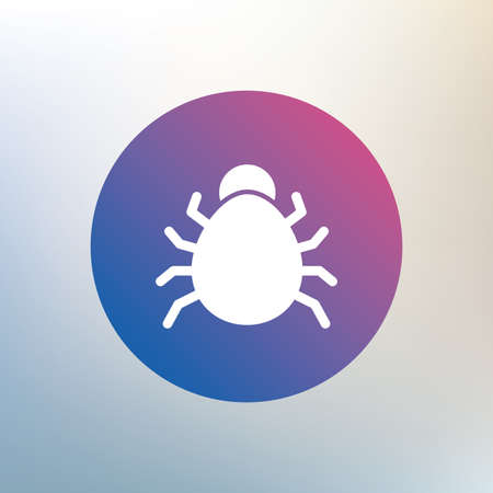 acarus: Bug sign icon. Virus symbol. Software bug error. Disinfection. Icon on blurred background. Vector