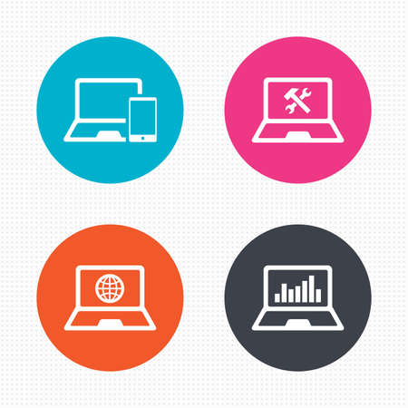 サークル ボタン。ノートブック ラップトップ pc アイコン。インターネット世界の記号。修復修正サービスのシンボルです。グラフを監視します。  イラスト・ベクター素材