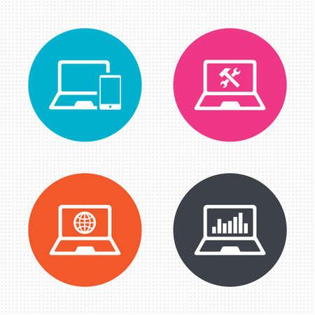 laptop repair: Botones de c�rculo. Cuaderno iconos pc port�til. Internet globo signo. Reparaci�n s�mbolo servicio soluci�n. Monitoreo gr�fico de la carta. Perfecta textura cuadrados. Vector