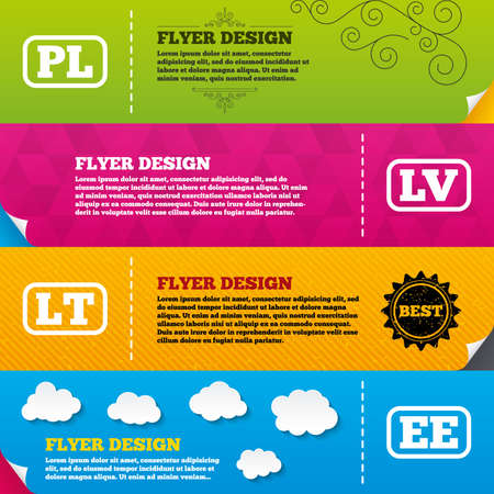 ee: Flyer brochure designs. Language icons. PL, LV, LT and EE translation symbols. Poland, Latvia, Lithuania and Estonia languages. Frame design templates. Vector Illustration