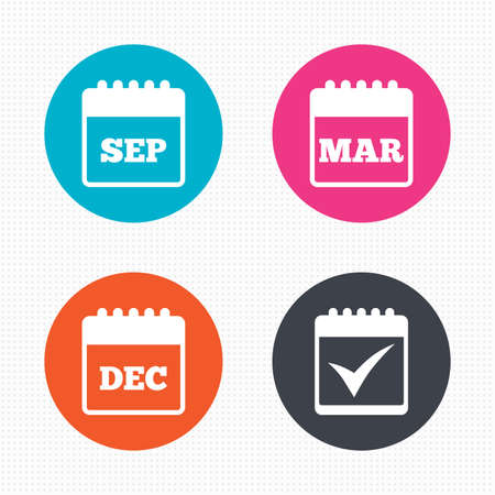 december: Circle buttons. Calendar icons. September, March and December month symbols. Check or Tick sign. Date or event reminder. Seamless squares texture. Vector