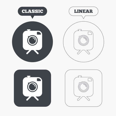 tripod: Hipster photo camera sign icon. Retro camera on tripod symbol. Classic and line web buttons. Circles and squares. Vector Illustration