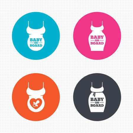 big belly: Circle buttons. Baby on board icons. Infant caution signs. Child pacifier nipple. Pregnant woman dress with big belly. Seamless squares texture. Vector Illustration