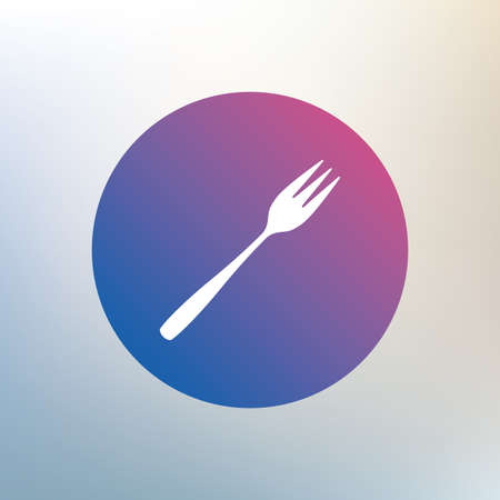 trident: Eat sign icon. Cutlery symbol. Diagonal dessert trident fork. Icon on blurred background. Vector