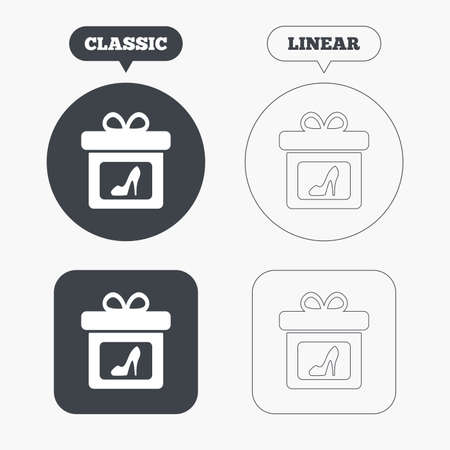 classic woman: Gift box sign icon. Present with woman shoes symbol. Classic and line web buttons. Circles and squares. Vector