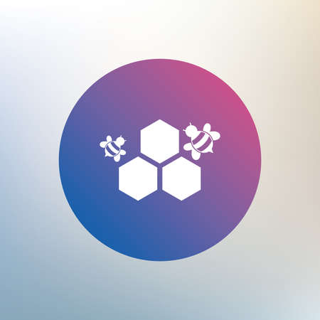 pollination: Honeycomb with bees sign icon. Honey cells symbol. Sweet natural food. Icon on blurred background. Vector