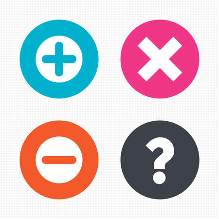 enlarge: Circle buttons. Plus and minus icons. Delete and question FAQ mark signs. Enlarge zoom symbol. Seamless squares texture. Vector Illustration