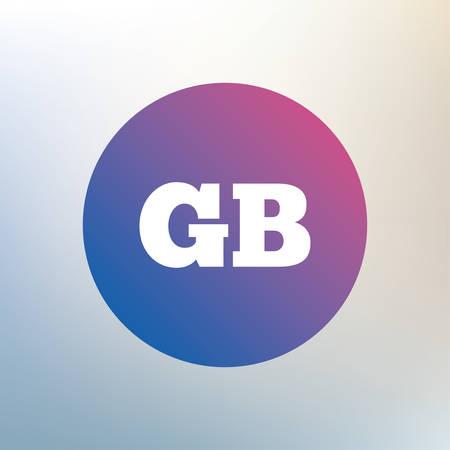 gb: British language sign icon. GB Great Britain translation symbol. Icon on blurred background. Vector