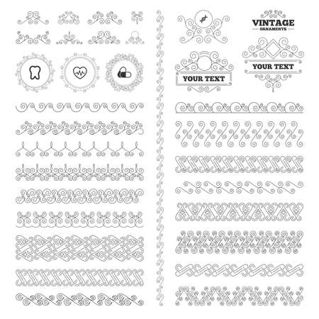 deoxyribonucleic acid: Vintage ornaments. Flourishes calligraphic. Maternity icons. Pills, tooth, DNA and heart cardiogram signs. Heartbeat symbol. Deoxyribonucleic acid. Dental care. Invitations elements. Vector