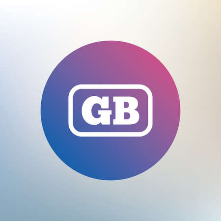 gb: British language sign icon. GB Great Britain translation symbol with frame. Icon on blurred background. Vector