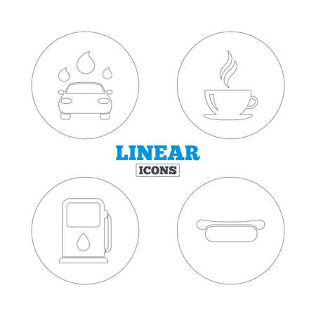 automated: Petrol or Gas station services icons. Automated car wash signs. Hotdog sandwich and hot coffee cup symbols. Linear outline web icons. Vector