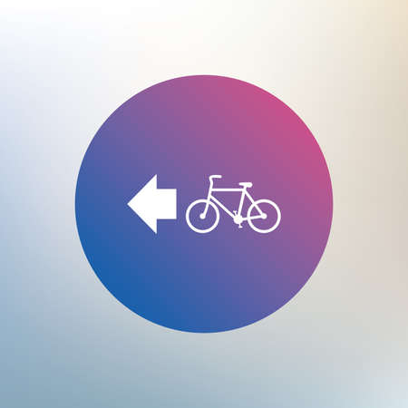 trail sign: Bicycle path trail sign icon. Cycle path. Left arrow symbol. Icon on blurred background. Vector
