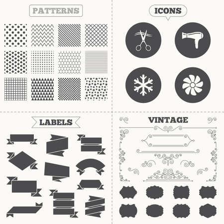 Seamless patterns. Sale tags labels. Hotel services icons. Air conditioning, Hairdryer and Ventilation in room signs. Climate control. Hairdresser or barbershop symbol. Vintage decoration. Vector Vector