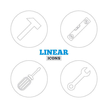 spirit level: Screwdriver and wrench key tool icons. Bubble level and hammer sign symbols. Linear outline web icons. Vector