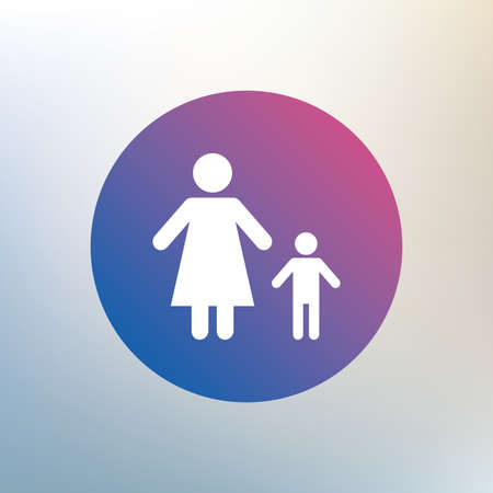 family with one child: One-parent family with one child sign icon. Mother with son symbol. Icon on blurred background. Vector
