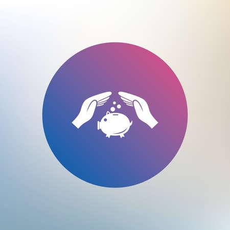 banco dinero: Hucha dinero signo icono. Manos protegen s�mbolo hucha. El dinero o ahorros seguros. Icono en el fondo borroso. Vector