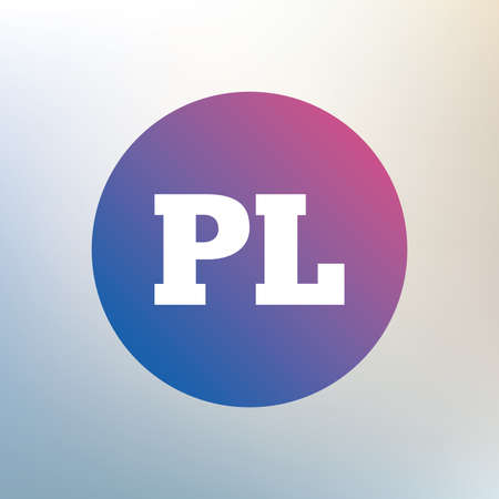 pl: Polish language sign icon. PL translation symbol. Icon on blurred background. Vector