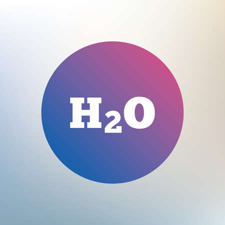 h2o: H2O Water formula sign icon. Chemistry symbol. Icon on blurred background. Vector