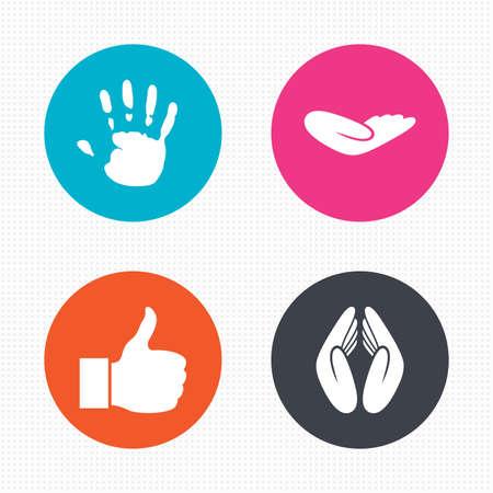 ayudando: Botones de círculo. Iconos mano. Al igual que el pulgar arriba símbolo. Signo de la protección del seguro. Ayudando humano mano donación. Oración manos. Perfecta textura cuadrados. Vector