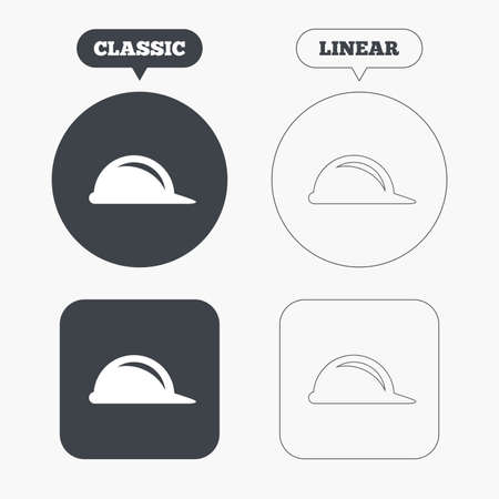 Hard hat sign icon. Construction helmet symbol. Classic and line web buttons. Circles and squares. Vector