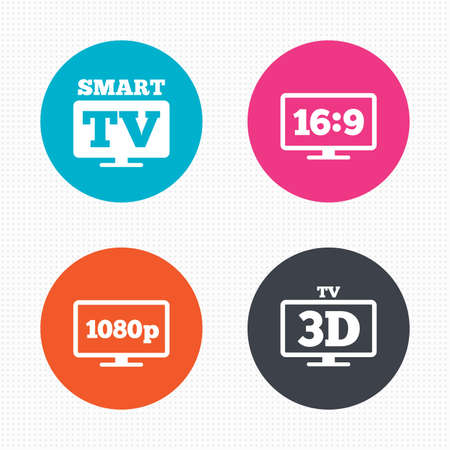 3d mode: Circle buttons. Smart TV mode icon. Aspect ratio 16:9 widescreen symbol. Full hd 1080p resolution. 3D Television sign. Seamless squares texture. Vector