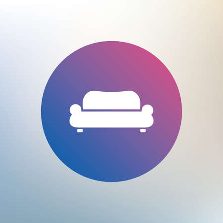 comfortable: Comfortable sofa sign icon. Modern couch furniture symbol. Icon on blurred background. Vector