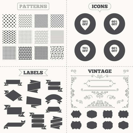 60 70: Seamless patterns. Sale tags labels. Sale pointer tag icons. Discount special offer symbols. 50%, 60%, 70% and 80% percent off signs. Vintage decoration. Vector