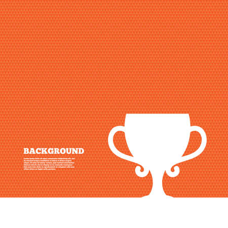 awarding: Background with seamless pattern. Winner cup sign icon. Awarding of winners symbol. Trophy. Triangles orange texture. Vector Illustration