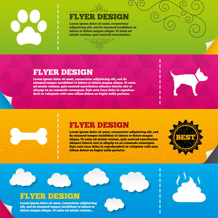 pets: Flyer brochure designs. Pets icons. Dog paw and feces signs. Clean up after pets. Pets food. Frame design templates. Vector