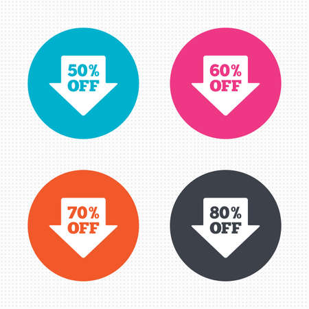 60 70: Circle buttons. Sale arrow tag icons. Discount special offer symbols. 50%, 60%, 70% and 80% percent off signs. Seamless squares texture. Vector Illustration