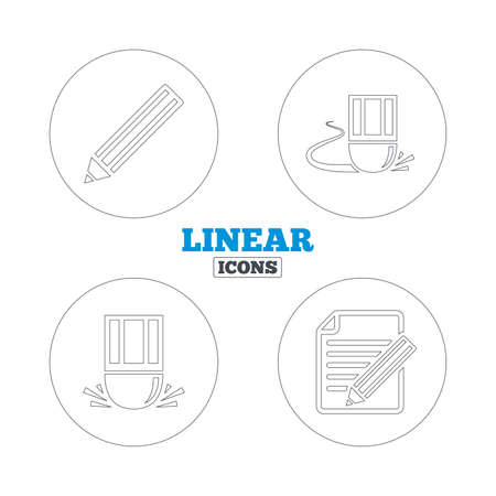 correct: Pencil icon. Edit document file. Eraser sign. Correct drawing symbol. Linear outline web icons. Vector