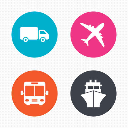 mail truck: Circle buttons. Transport icons. Truck, Airplane, Public bus and Ship signs. Shipping delivery symbol. Air mail delivery sign. Seamless squares texture. Vector