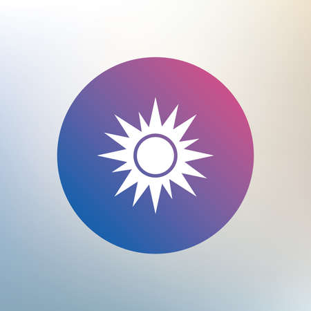solarium: Sun sign icon. Solarium symbol. Heat button. Icon on blurred background. Vector Illustration