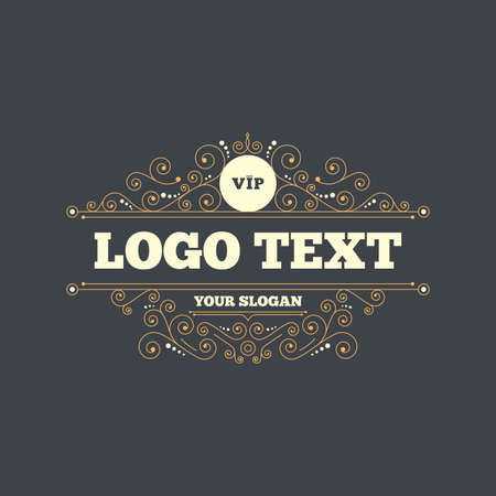 very important person: Vip sign icon. Membership symbol. Very important person. Flourishes calligraphic ornament. Vector