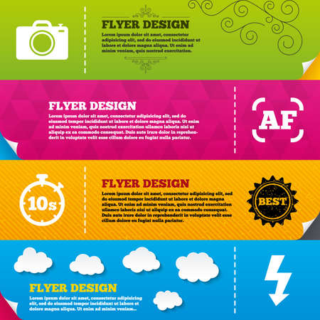 autofocus: Flyer brochure designs. Photo camera icon. Flash light and autofocus AF symbols. Stopwatch timer 10 seconds sign. Frame design templates. Vector Illustration