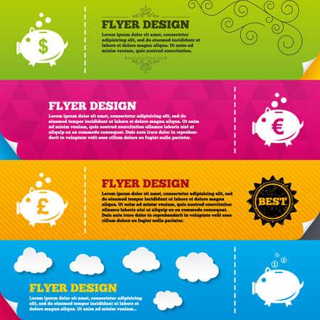 cash: Flyer brochure designs. Piggy bank icons. Dollar, Euro and Pound moneybox signs. Cash coin money symbols. Frame design templates. Vector