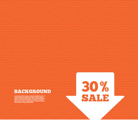orange texture: Background with seamless pattern. 30% sale arrow tag sign icon. Discount symbol. Special offer label. Triangles orange texture. Vector Illustration