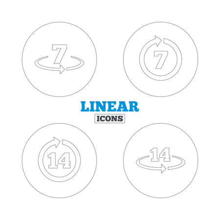 weeks: Return of goods within 7 or 14 days icons. Warranty 2 weeks exchange symbols. Linear outline web icons. Vector