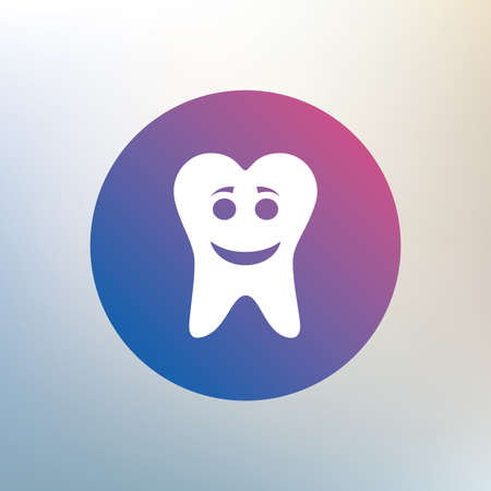 stomatologist: Tooth happy face sign icon. Dental care symbol. Healthy teeth. Icon on blurred background. Vector Illustration