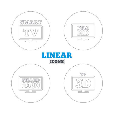3d mode: Smart TV mode icon. Widescreen symbol. Full hd 1080p resolution. 3D Television sign. Linear outline web icons. Vector Illustration