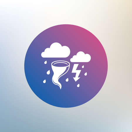 gale: Storm bad weather sign icon. Clouds with thunderstorm. Gale hurricane symbol. Destruction and disaster from wind. Insurance symbol. Icon on blurred background. Vector