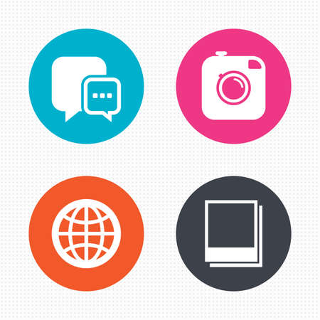 round icons: Circle buttons. Social media icons. Chat speech bubble and world globe symbols. Hipster photo camera sign. Photo frames. Seamless squares texture. Vector