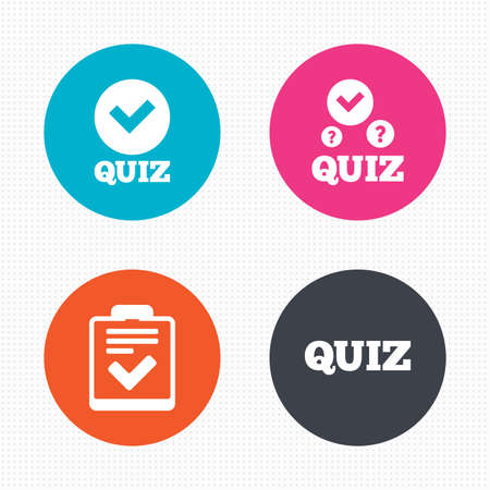 form a circle: Circle buttons. Quiz icons. Checklist with check mark symbol. Survey poll or questionnaire feedback form sign. Seamless squares texture. Vector