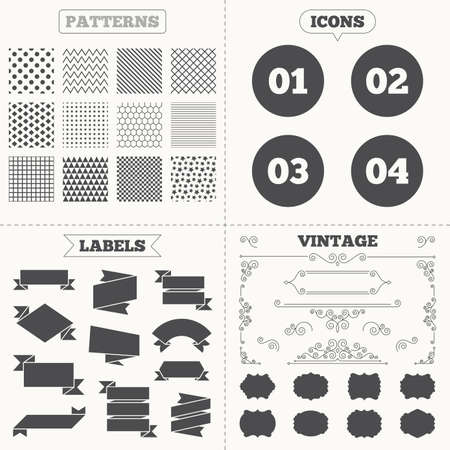 03: Seamless patterns. Sale tags labels. Step one, two, three and four icons. Sequence of options symbols. Loading process signs. Vintage decoration. Vector